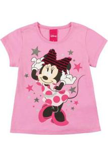 Blusa Estampa Com Glitter Rosa Disney