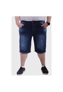 Bermuda Jeans Plus Size Destroyed Rasgada Puidos Mega Premium Masculino - Jeans Escuro Azul Escuro