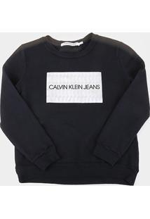 Casaco Infantil Calvin Klein Box Logo Feminino - Feminino-Preto