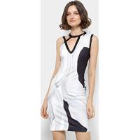 3e3283053 Vestido Forum Curto Tubinho Estampado - Feminino-Branco+Roxo