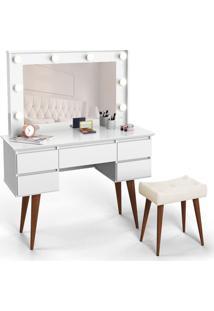 Penteadeira Com Espelho Strass Branca