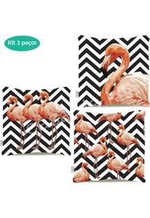Kit Capas Almofadas Estampadas Dupla Face Flamingo