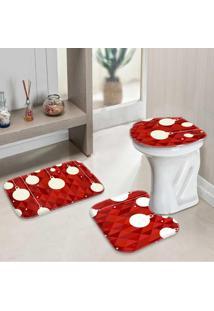 Jogo Tapetes Para Banheiro Geometric Christmas Único