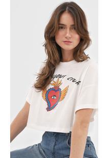 Camiseta Cropped Colcci Find Your Crush Branca