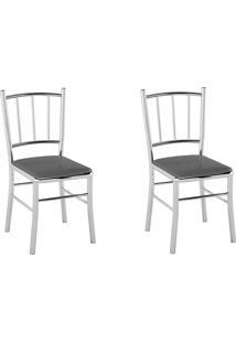 Kit 2 Cadeiras Pc12 Assento Vinil Grafite Metalizado - Pozza
