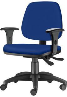Cadeira Job Com Bracos Semi Curvados Assento Courino Azul Base Nylon Arcada - 54628 Sun House