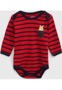 Body Pimpolho Infantil Monstrinho Vermelho/Azul-Marinho