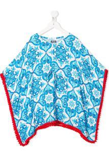 Mc2 Saint Barth Kids Vestido Poncho Kate Com Estampa Geométrica - Azul
