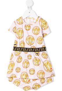 Young Versace Vestido Com Logo Emoji - Rosa