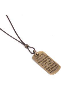 Colar Marshop Medalha Gospel Marrom