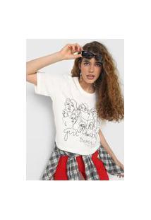 Camiseta Forever 21 Girly Power Off-White
