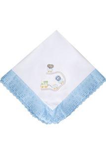 Manta Bordada- Branca & Azul Claro- 75X85Cm- 118Papi
