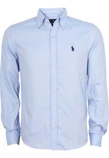 Camisa Ralph Lauren Masculina Custom Fit Mesh Shirt Azul Claro