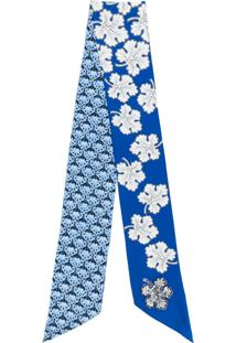 Fendi Cachecol De Seda Com Estampa Floral - Azul