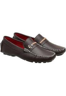 Sapato Mocassim Drive Confort Sintético Sola Natan Dmt Masculino - Masculino-Marrom