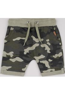 Bermuda Infantil Estampada Camuflada Em Moletom Verde Militar