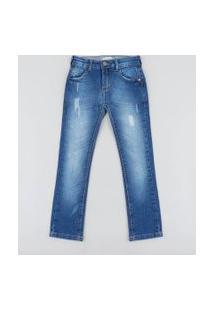 Calça Jeans Infantil Skinny Com Puídos Azul Médio