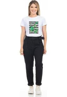 T-Shirt Cropped Clara Arruda Viés Estampada Feminino - Feminino-Branco