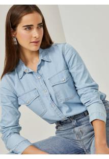Amaro Feminino Camisa Jeans Essential, Azul Claro