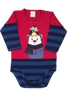 Body Ano Zero Bebê Suedine E Cotton Listrado Pinguim E Urso Vermelho