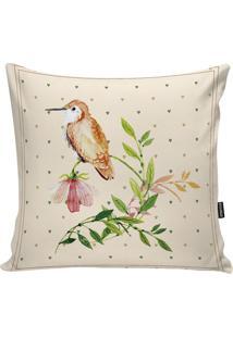 Capa Para Almofada Birds- Bege Claro & Verde Claro- Stm Home