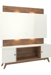 Rack Com Painel Munique Com Led 1,80 Mt Cor Off White Com Nobre - 51630 - Sun House