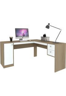 Mesa Para Escritório 1 Porta 2 Gavetas Ho-2935 Avelã/Branco - Hecol