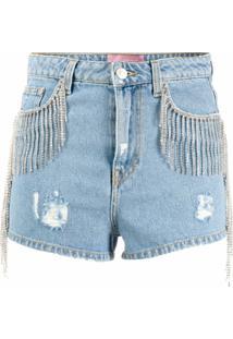 Chiara Ferragni Short Jeans Com Destroyed - Azul