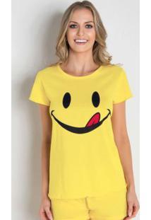 Camiseta De Pijama Em Malha Amarela