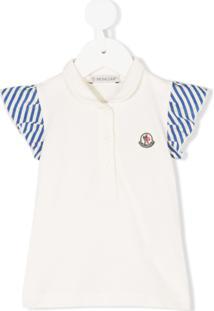 Moncler Kids Camisa Polo Com Babados - Neutro