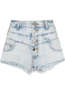 Amiri Short Jeans Com Bordado De Listras - Azul