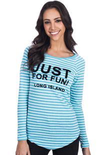 Camiseta Manga Longa Long Island Fun Azul