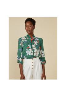 Amaro Feminino Camisa Folk Tie, Flat Flower Green