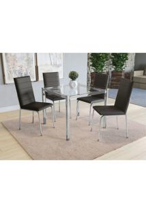 Conjunto Mesa Reno C/ 4 Cadeiras Amsterd㣠Cromado/Preto Kappesberg - Preto - Dafiti