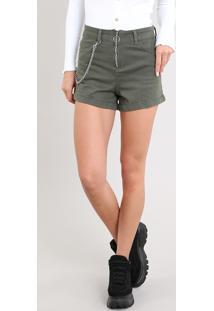 Short De Sarja Feminino Hot Pants Cintura Alta Com Corrente Verde Militar