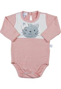 Body Bebê Cotton Listrado Gatinha - Feminino