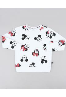 Blusão Infantil Minnie E Mickey Estampado Em Moletom Off White