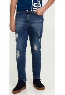 Calça Juvenil Jeans Puídos Mr
