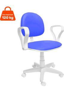 Cadeira De Escritório Secretária Mazikeen Ajustável Azul E Branca
