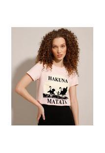 """Camiseta De Algodão O Rei Leão """"Hakuna Matata"""" Flocada Manga Curta Decote Redondo Rosa Claro"""