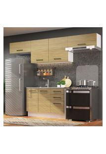 Cozinha Compacta Madesa Agata 280002 Com Armário E Balcáo - Branco/Carvalho Marrom