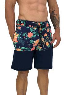 Bermuda Masculina Alto Conceito Moletom Floral Bicolor
