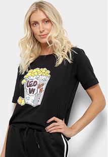 Camiseta Aura Pop Corn Feminina - Feminino-Preto