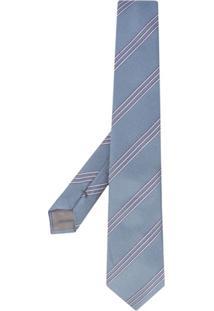 Emporio Armani Gravata De Seda Com Listras - Azul