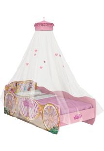 Cama Princesas Disney Star C/Dorsel De Teto Rosa Pura Magia - Tricae