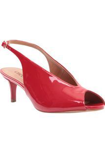 Peep Toe Com Recorte- Vermelho- Salto: 5,5Cmcecconello
