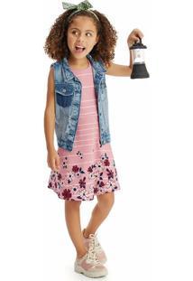 Vestido Evasê Recorte Posterior Infantil Malwee Kids