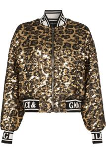 Dolce & Gabbana Jaqueta Bomber Animal Print Com Paetês - Preto
