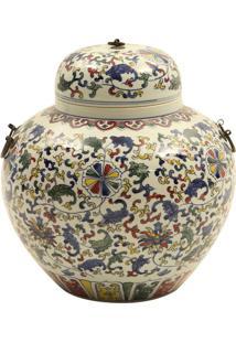 Vaso De Porcelana Com Tampa Hongwu Azul E Branco