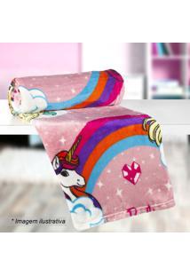 Manta Fleece Solteiro Barbie®- Rosa Branca- 125X15Lepper